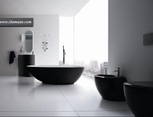 دیزاین حمام سفید و مشکی ؛ فضایی متفاوت!