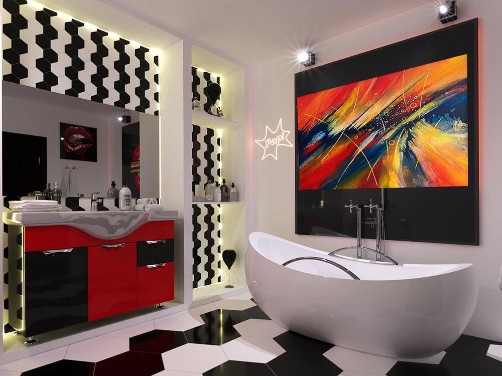 طراحی حمام به سبک پاپ آرت